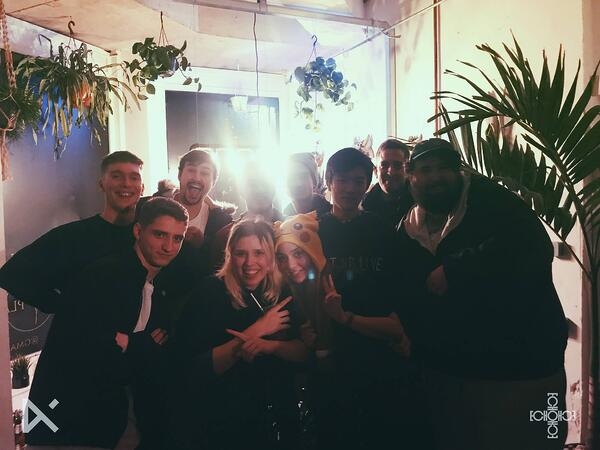 saaaz and the Echo UK gang with Grumpysnorlax at their show at Glitch