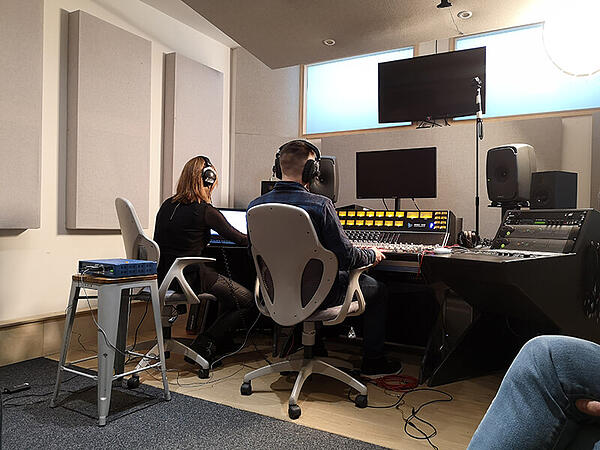 One of our students begins the ASMR experiment in the Studio 3 control room
