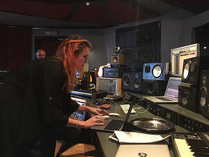 Kat Marsh in the recording studio