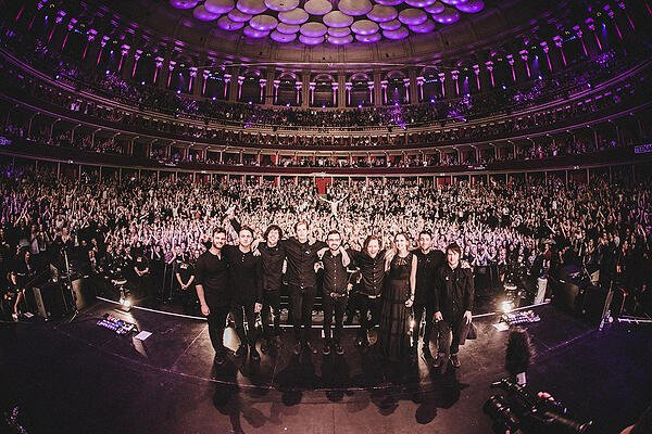 Kat Marsh on stage with Bring Me The Horizon after Royal Albert Hall concert