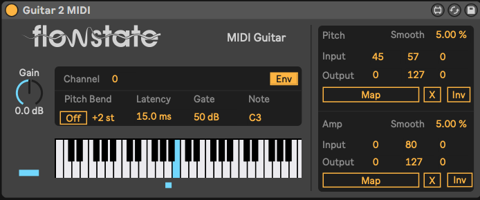 The interface for the MIDI guitar device