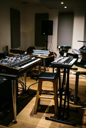 Inside the synth-filled live room before Adrian Utley and our dBs Music Students start their performance of 'In C'