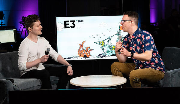 Wlad Marhulets at E3 talking with Gamespot