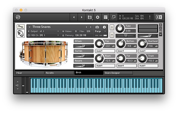 Snare Designer Kontakt interface